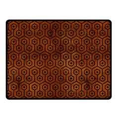 Hexagon1 Black Marble & Brown Burl Wood (r) Double Sided Fleece Blanket (small) by trendistuff