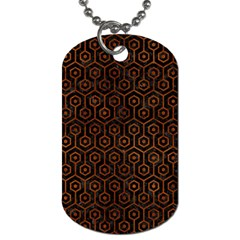 Hexagon1 Black Marble & Brown Burl Wood Dog Tag (one Side) by trendistuff