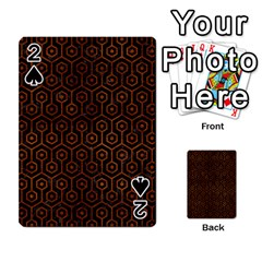 Hexagon1 Black Marble & Brown Burl Wood Playing Cards 54 Designs