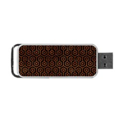 Hexagon1 Black Marble & Brown Burl Wood Portable Usb Flash (two Sides) by trendistuff
