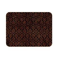 Hexagon1 Black Marble & Brown Burl Wood Double Sided Flano Blanket (mini) by trendistuff