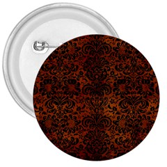Damask2 Black Marble & Brown Burl Wood (r) 3  Button by trendistuff