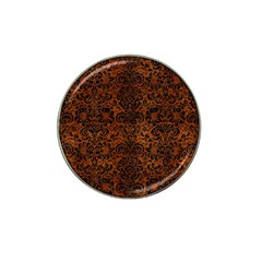 Damask2 Black Marble & Brown Burl Wood (r) Hat Clip Ball Marker (4 Pack) by trendistuff