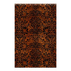 Damask2 Black Marble & Brown Burl Wood (r) Shower Curtain 48  X 72  (small) by trendistuff