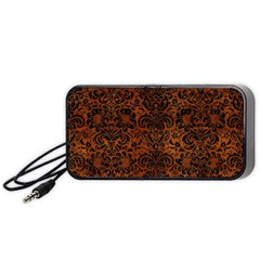 Damask2 Black Marble & Brown Burl Wood (r) Portable Speaker (black) by trendistuff
