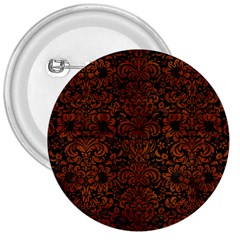 Damask2 Black Marble & Brown Burl Wood 3  Button by trendistuff