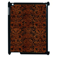 Damask2 Black Marble & Brown Burl Wood Apple Ipad 2 Case (black) by trendistuff