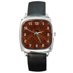 Damask1 Black Marble & Brown Burl Wood (r) Square Metal Watch by trendistuff
