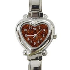 Damask1 Black Marble & Brown Burl Wood (r) Heart Italian Charm Watch by trendistuff