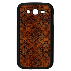 Damask1 Black Marble & Brown Burl Wood (r) Samsung Galaxy Grand Duos I9082 Case (black) by trendistuff