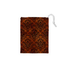 Damask1 Black Marble & Brown Burl Wood (r) Drawstring Pouch (xs) by trendistuff
