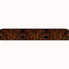 Damask1 Black Marble & Brown Burl Wood Small Bar Mat by trendistuff