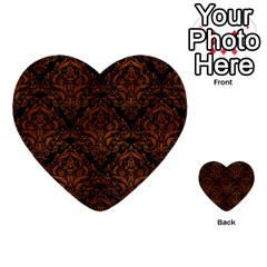 Damask1 Black Marble & Brown Burl Wood Multi Purpose Cards (heart) by trendistuff