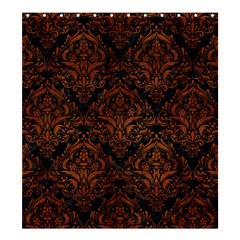 Damask1 Black Marble & Brown Burl Wood Shower Curtain 66  X 72  (large) by trendistuff