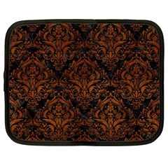 Damask1 Black Marble & Brown Burl Wood Netbook Case (xxl) by trendistuff