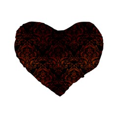 Damask1 Black Marble & Brown Burl Wood Standard 16  Premium Heart Shape Cushion