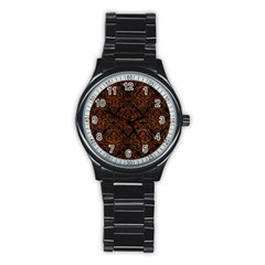 Damask1 Black Marble & Brown Burl Wood Stainless Steel Round Watch by trendistuff