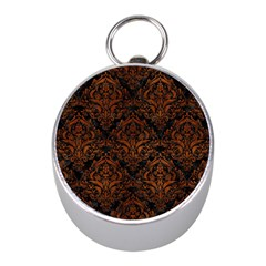 Damask1 Black Marble & Brown Burl Wood Silver Compass (mini) by trendistuff