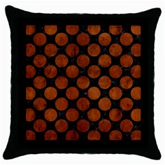 Circles2 Black Marble & Brown Burl Wood Throw Pillow Case (black) by trendistuff
