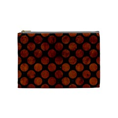 Circles2 Black Marble & Brown Burl Wood Cosmetic Bag (medium) by trendistuff