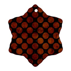Circles2 Black Marble & Brown Burl Wood Snowflake Ornament (two Sides) by trendistuff