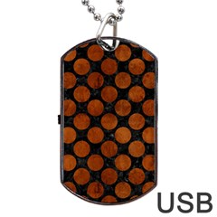 Circles2 Black Marble & Brown Burl Wood Dog Tag Usb Flash (two Sides) by trendistuff