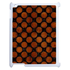 Circles2 Black Marble & Brown Burl Wood Apple Ipad 2 Case (white) by trendistuff