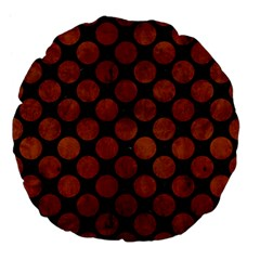 Circles2 Black Marble & Brown Burl Wood Large 18  Premium Flano Round Cushion  by trendistuff