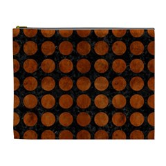 Circles1 Black Marble & Brown Burl Wood Cosmetic Bag (xl) by trendistuff