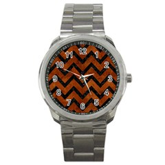 Chevron9 Black Marble & Brown Burl Wood (r) Sport Metal Watch by trendistuff