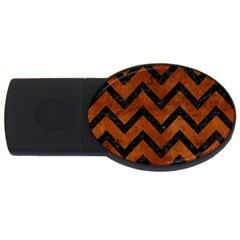 Chevron9 Black Marble & Brown Burl Wood (r) Usb Flash Drive Oval (4 Gb)