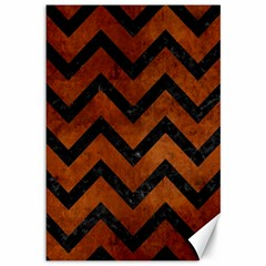 Chevron9 Black Marble & Brown Burl Wood (r) Canvas 12  X 18  by trendistuff