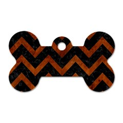 Chevron9 Black Marble & Brown Burl Wood Dog Tag Bone (one Side)