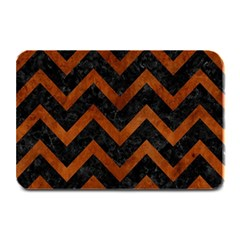 Chevron9 Black Marble & Brown Burl Wood Plate Mat by trendistuff