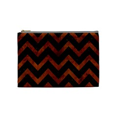 Chevron9 Black Marble & Brown Burl Wood Cosmetic Bag (medium) by trendistuff