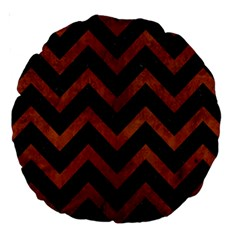 Chevron9 Black Marble & Brown Burl Wood Large 18  Premium Round Cushion  by trendistuff