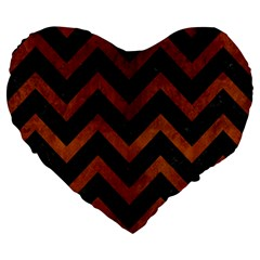 Chevron9 Black Marble & Brown Burl Wood Large 19  Premium Flano Heart Shape Cushion by trendistuff
