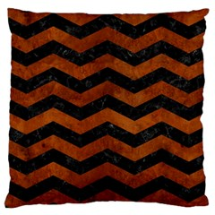 Chevron3 Black Marble & Brown Burl Wood Large Cushion Case (one Side)
