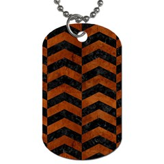 Chevron2 Black Marble & Brown Burl Wood Dog Tag (one Side) by trendistuff