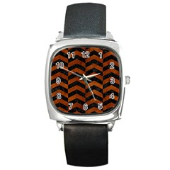 Chevron2 Black Marble & Brown Burl Wood Square Metal Watch by trendistuff