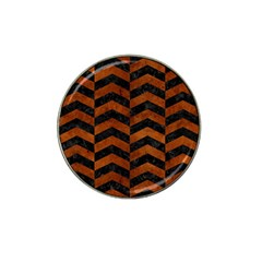 Chevron2 Black Marble & Brown Burl Wood Hat Clip Ball Marker (10 Pack) by trendistuff