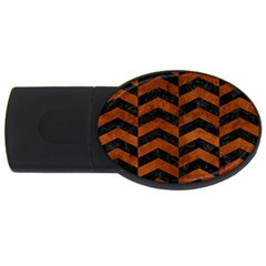 Chevron2 Black Marble & Brown Burl Wood Usb Flash Drive Oval (4 Gb)