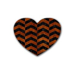 Chevron2 Black Marble & Brown Burl Wood Rubber Heart Coaster (4 Pack) by trendistuff
