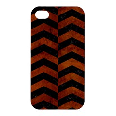 Chevron2 Black Marble & Brown Burl Wood Apple Iphone 4/4s Hardshell Case by trendistuff