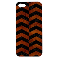 Chevron2 Black Marble & Brown Burl Wood Apple Iphone 5 Hardshell Case by trendistuff