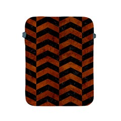 Chevron2 Black Marble & Brown Burl Wood Apple Ipad 2/3/4 Protective Soft Case by trendistuff