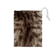 Black And White Silver Tiger Fur Drawstring Pouches (medium)  by timelessartoncanvas