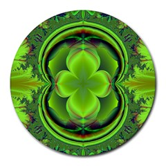 Green Clover Round Mousepads by Delasel