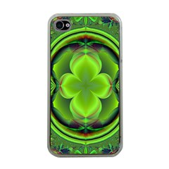 Green Clover Apple Iphone 4 Case (clear) by Delasel