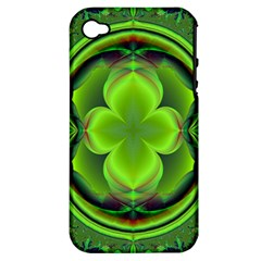 Green Clover Apple Iphone 4/4s Hardshell Case (pc+silicone) by Delasel